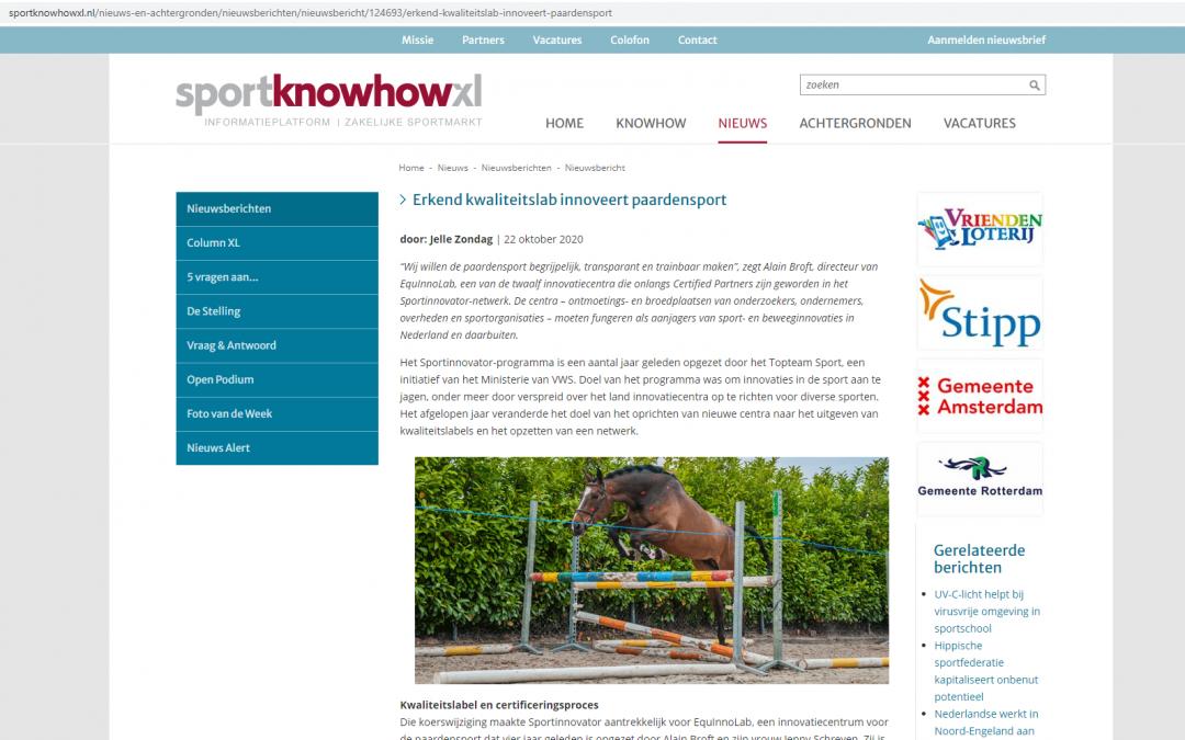 DUTCH ONLY: Artikel SportKnowHowXL – Erkend kwaliteitslab innoveert paardensport